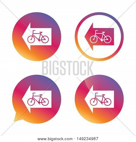 Bicycle path trail sign icon. Cycle path. Left arrow symbol. Gradient buttons with flat icon. Speech bubble sign. Vector