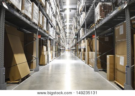 IKEA THAILAND - AUGUST 12 2016: Boxes or crate are many products in IKEA department store or shopping mall semi warehouse