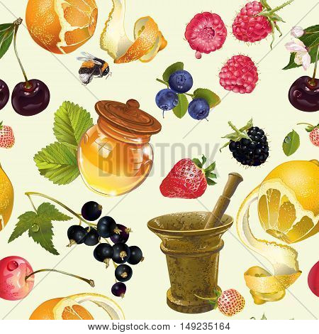 Vector fruit and berry cosmetic seamless pattern with honey and mortar. Design for natural cosmetics, health care products, aromatherapy, homeopathy, recipe book. Best for wrapping paper, print.