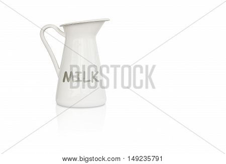 milk jug with text and reflection shadow on left side and white background isolated included clipping path on jug body only for easy to your work