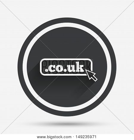 Domain CO.UK sign icon. UK internet subdomain symbol with cursor pointer. Circle flat button with shadow and border. Vector