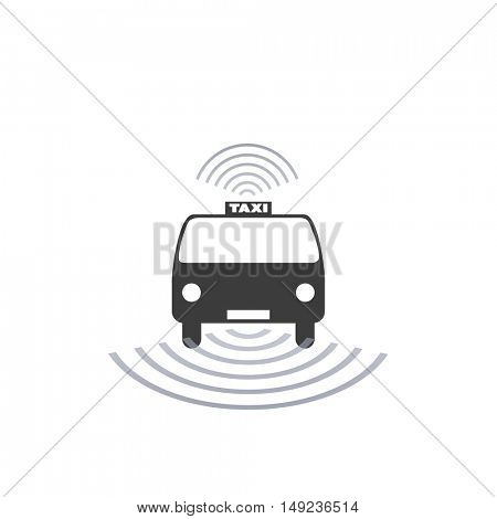 Self-Driving Taxi Design Concept For Logo, Mobile Application UI, Ordering Service - Vector Illustration