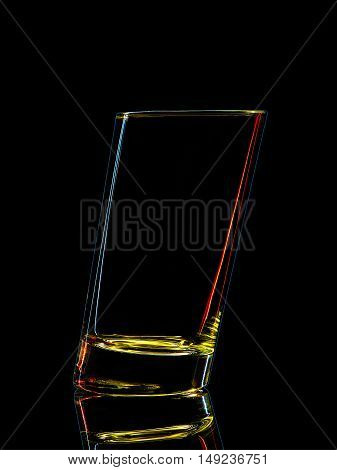 Silhouette of colorful glass for shot with clipping path on black background.