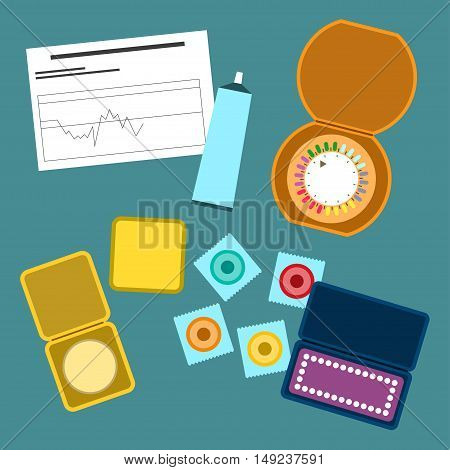 Contraception methods Vector illustration Different methods of contraception: condoms, birth control pills, diaphragm, gels, calendar method of contraception