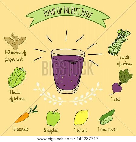 Hand drawn sketch illustration. Recipe and ingredients of healthy and energy drink for restaurant or cafe. Vegan Detox drinks. Gluten free drinks. Vegetarian Smoothie Recipe. Beet Juice.