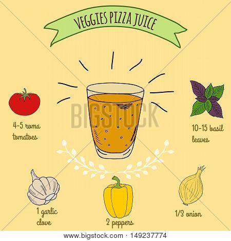 Hand drawn sketch illustration. Recipe and ingredients of healthy energy drink for restaurant or cafe. Vegan Detox drinks. Gluten free drinks. Vegetarian Smoothie Recipe. Vegetable Juice.