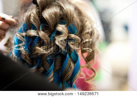 Blue hair extension