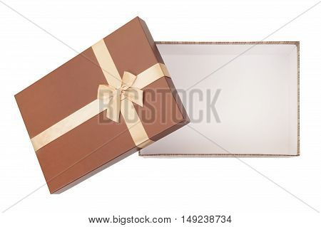 gold box with gifts bow ribbon isolated on white