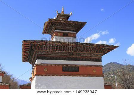 Small Dzong In Paro Valley, Bhutan