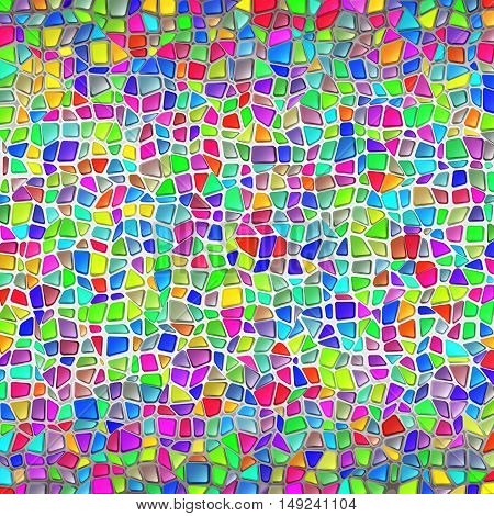 Mosaic wall in Gaudi's style; The masonry of polygonal multicolored brilliant stones; Vector Background Eps10