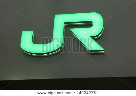 TOKYO JAPAN - SEPTEMBER 23, 2016: JR Japanese train company logo Japan. Japan Railway Group JR lies at the heat of Japanese railway network.
