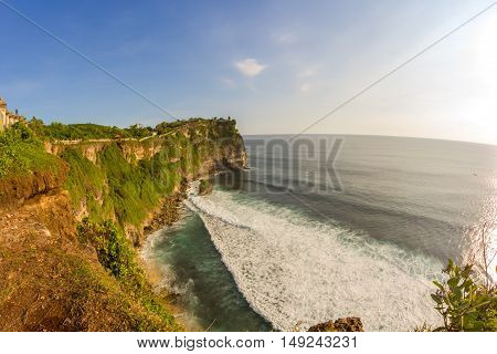 view of a cliff in Bali Indonesia.Uluwatu temple