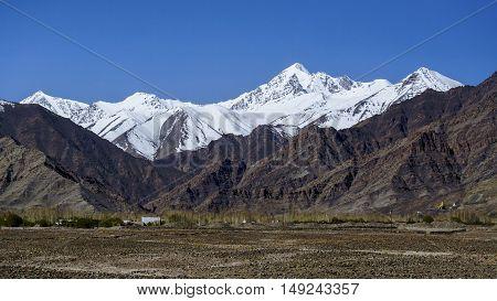 Beautiful mountains on Leh Leh district Ladakh Himalayas Jammu and Kashmir Northern India