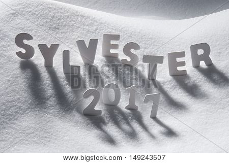 White Letters Building German Text Sylvester 2017 Means New Years Eve 2017 In Snow. Snowy Scenery For Happy New Year Greetings.