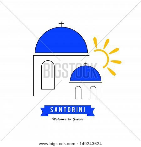 Santorini Greek Island Icon Travel Illustration