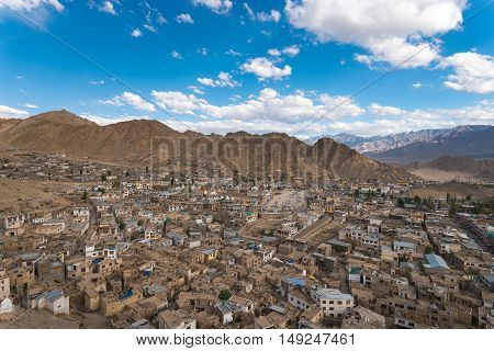 Leh cityscape panorama view from Leh palace.