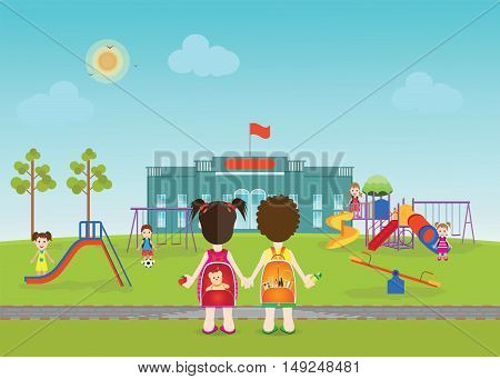Kids playing on playground with equipment swings slides and tube school background Modern flat style vector illustration cartoon clipart.