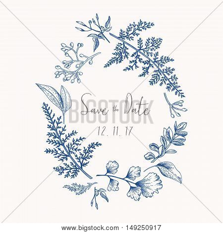 Wreath with herbs and leaves isolated on white background. Botanical illustration In blue. Boxwood seeded eucalyptus fern maidenhair. Save the date. Design elements. Vector. Engraving style.