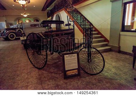 El Segundo, CA, USA - September 26, 2016: This replica 1886 Benz Patent Motorwagen is displayed at the Automobile Driving Museum in El Segundo, California, United States. Editorial use only.