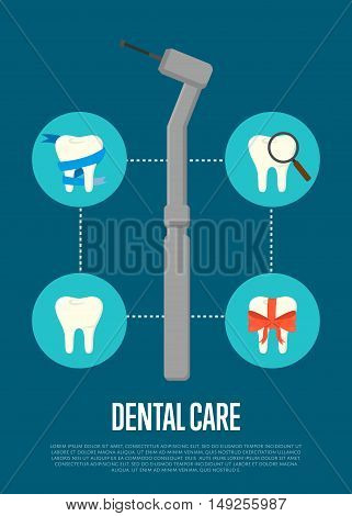 Dental tools infographic with tooth icon and special dental tools instrument. Dentist tools. Dental treatment concept. Tooth care and restoration. Dentist office equipment. Healthcare equipment. Poster for dentist office or dentist ad. Dental care concept