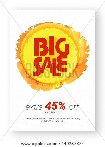 Big Sale Flyer, Clearance Banner, Poster, Pamphlet, Extra 45% Off in All Brands, Vector illustration with abstract paint stroke.