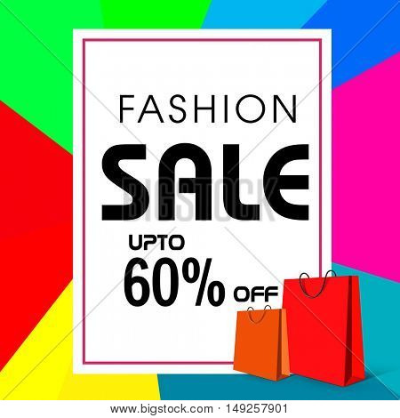 Fashion Sale Flyer, Banner, Pamphlet or Poster with 60% Discount Offer, Shopping Bags and colorful Abstract Pattern.