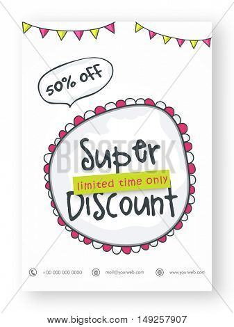 Super Discount, Sale Flyer, Banner, Pamphlet or Poster with 50% Off for Limited Time Only. Vector Illustration.