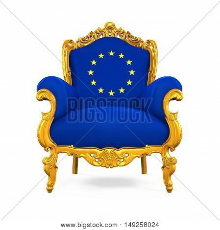 Throne Chair with European Union Flag isolated on white background. 3D render