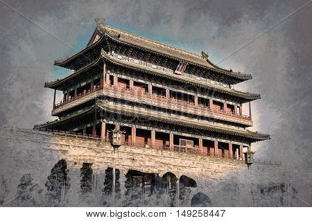 Beijing, China at the Zhengyangmen Gatehouse in Tiananmen Square. Beautiful historical building at sunset. Vintage painting,