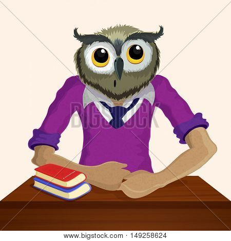 Half Human and Half Animal Concept, Owl bird dressed up in human dress, Animal Headed Human, Creative Anthropomorphic design.
