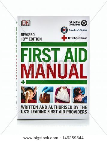 SWINDON UK - SEPTEMBER 25 2016: First Aid Manual on a white background