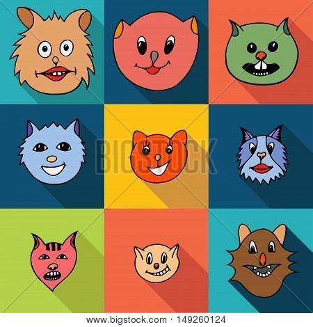 Set of flat popular breeds of cats icons. Vector illustration.