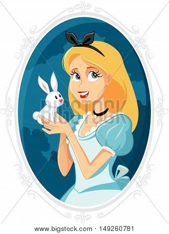Alice in Wonderland with Little White Rabbit Vector Illustration