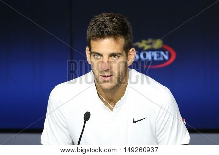 NEW YORK - SEPTEMBER 5, 2016: Grand Slam champion Juan Martin Del Porto of Argentina during press conference at the Billie Jean King National Tennis Center during US Open 2016