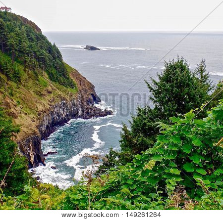 Overlooking stormy cove on the Oregon coast