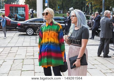 Fashionable Woman Posing During Milan Fashion Week