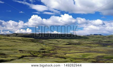 Landscape of Lakagigar valley in central Iceland