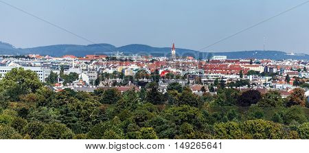 Aerial view of Vienna city with Stephansplatz in the distance in a summer day