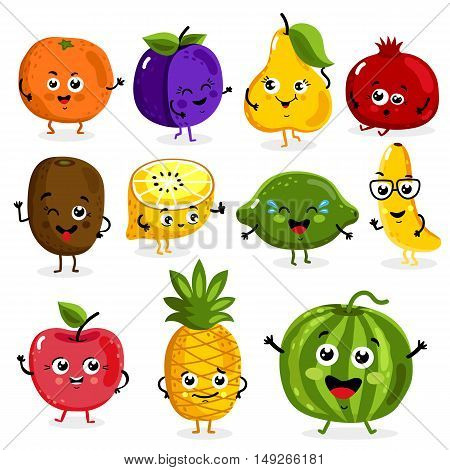 Cartoon funny fruits characters and fruits face isolated on white background vector illustration. Funny fruit face and cartoon fruit characters icon vector set. Cartoon characters. Cartoon face food. Smiling cute funny food. Cartoon food.