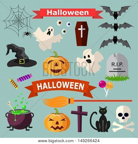 Set of Halloween ribbons and characters. Cat bat candy spider, ghost, pumpkin, witch hat, cross. vector illustration for Halloween design, website, flier, invitation card
