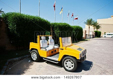 Hurghada, Egypt -20 August 2016:  Small Copy Of Hummer H2 Car Cabrio