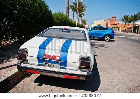 Hurghada, Egypt -20 August 2016: Gmc Retro Coupe Car With Egypt License Plate