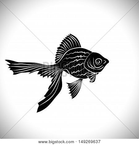 Goldfish cards black silhouette. Goldfish. Carp black silhouette vector isolated on a white background.