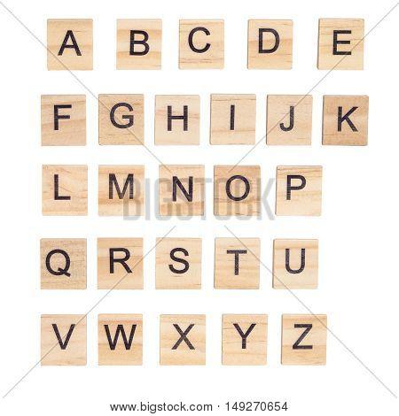 Alphabet a b c on wood white background