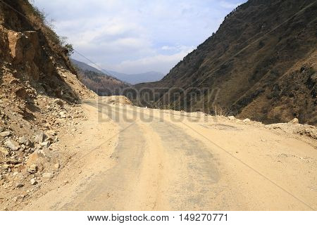 Road in Himalaya mountains of central Bhutan
