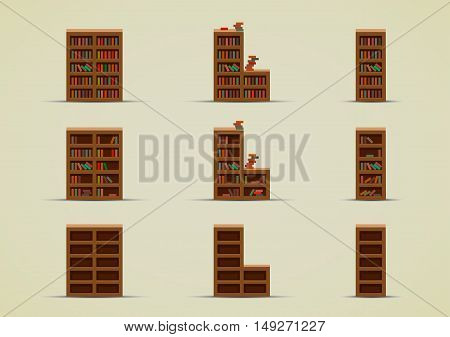Set of nine cartoony wardrobes with books