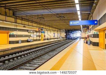 BARI ITALY - 9 JULY 2015: Aeroporto is a railway station opened in 2013 which serves Bari Karol Wojtyla Airport connection to Bari Centrale.