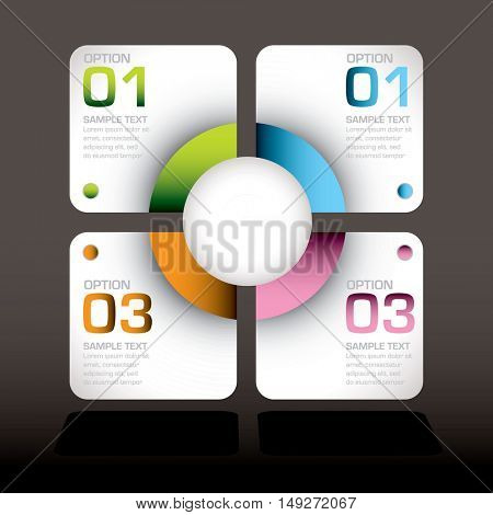 Black background with white design elements and colourful tabs with room for your own text