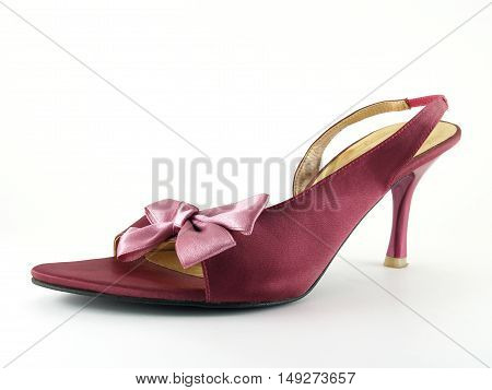 purple high heel shoe with fabric bow isolated on white background, women's shoes casual style