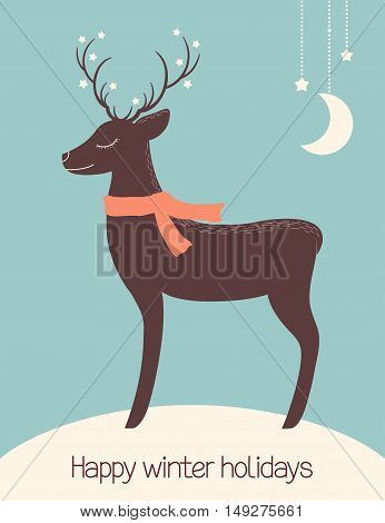 Christmas Deer Dreaming Under The Stars